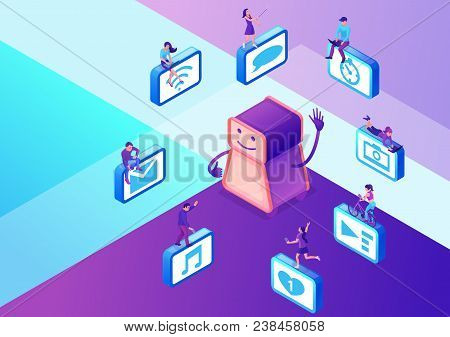 Chatbot Service Isometric Vector Illustration With Icons Set And Robot, Communication By Gadgets, Sm