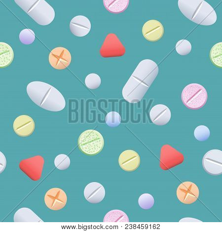 Pills Seamless Pattern. Drugs Like Medicine Aspirin And Pharmaceutical Tablets Blue Background, Vect