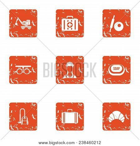Medical Hygiene Icons Set. Grunge Set Of 9 Medical Hygiene Vector Icons For Web Isolated On White Ba
