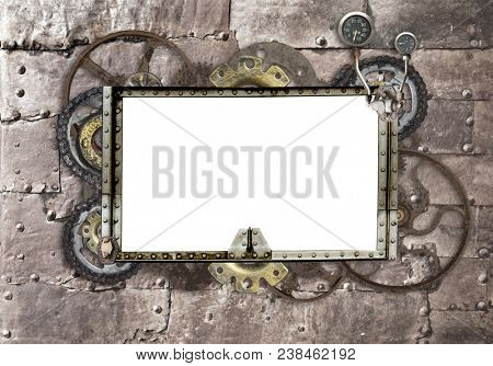 Grunge background with metallic frame with vintage machine gears and cogwheel. Mock up template. Can be used for steampunk and mechanical design