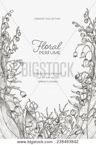 Flyer Or Poster Template With Lily Of The Valley Flowers Hand Drawn With Black Contour Lines On Whit