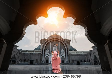 Asian Malaysia Mosque With Muslim Pray In Malaysia  Malaysian Muslim With Mosque Religion Concept.