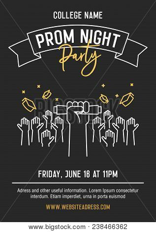 Prom Night Party Invitation Card With Hands Raised Throwing Academic Hats Up And Showing Diplomas. V