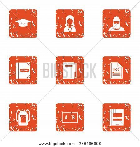 School Personnel Icons Set. Grunge Set Of 9 School Personnel Vector Icons For Web Isolated On White