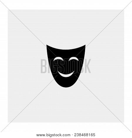 Comedy Mask On Gray Background. Vector  Illustration