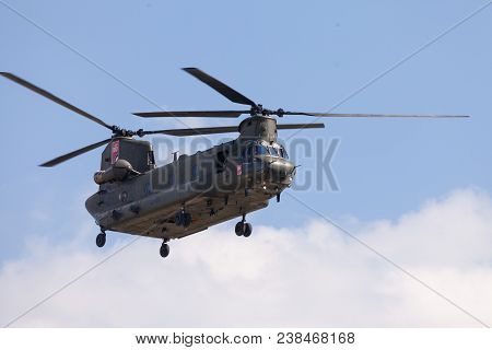 Berlin / Germany - April 28 2018: Military Transport Helicopter Chinook From Boing Rotor Craft Syste