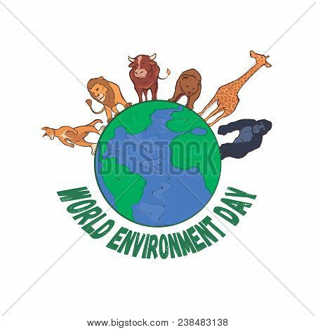 World Environment Day 5th June. Sketch Of Mother Earth Globe And Stylish Text World Environment Day