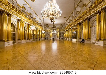 Saint Petersburg, Russia - March 16, 2018: People In Large Hall In Great Hermitage Museum. The State