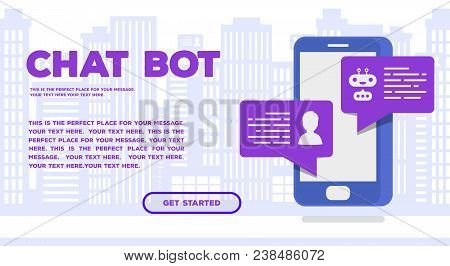 Chat Bot Concept Web Page Trendy Color Isometric Style For Mobile Service, Communication Technology,