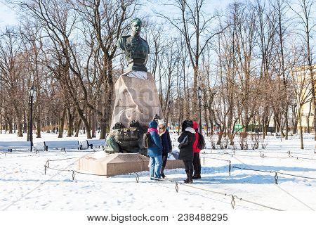 Saint Petersburg, Russia - March 18, 2018: People Near Monument Nikolai Przhevalsky In Alexander Gar