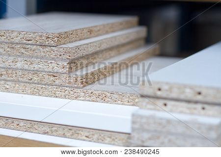 Mdf, Particle Board. Wood Panels Of Different Thicknesses And Colors. Furniture Fittings For Furnitu