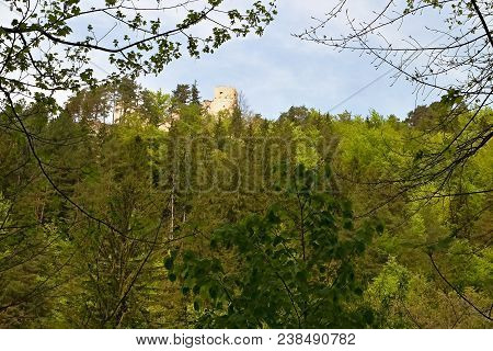 Great Fatra - Gader Valley: View Of Blatnica Castle In Turiec Basin. The Ruin Of The Castle Blatnica