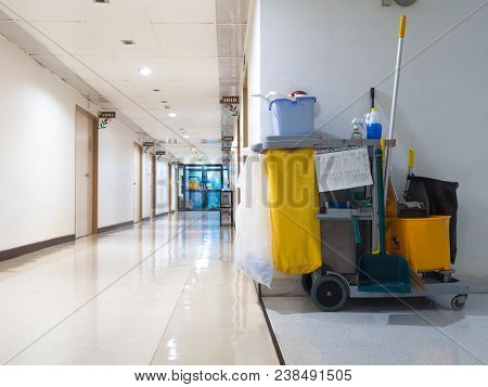Cleaning Tools Cart Wait For Maid Or Cleaner In The Hospital. Bucket And Set Of Cleaning Equipment I