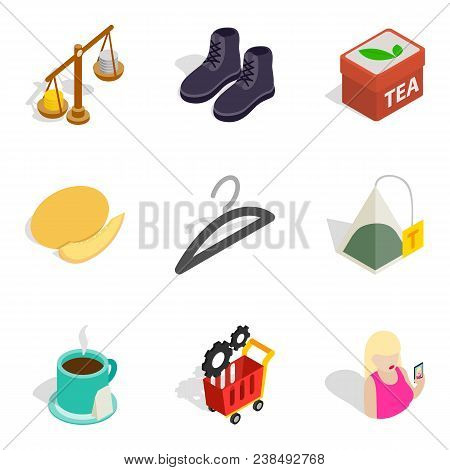 Bulk Purchase Icons Set. Isometric Set Of 9 Bulk Purchase Vector Icons For Web Isolated On White Bac