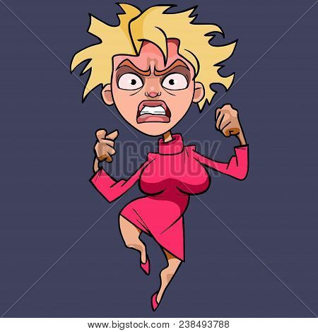 Cartoon Funny Woman Blonde In Pink Dress Hysterically Angry