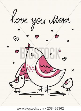 1386f6520f Mother`s Day Vector Card With Bird And Her Cute Kids. Cartoon Flat Mothers