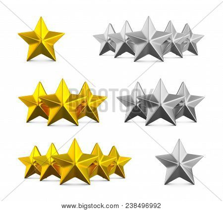 Five Star Rating. Different Rows Of One, Three And Five Stars. Gold Embossed And Silver Stars On Whi