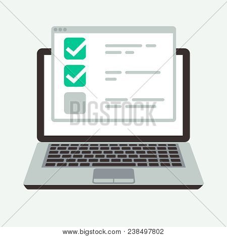 Online Checklist On Laptop Display. Success Quiz And Exam Testing Vector Concept. Illustration Of Ch