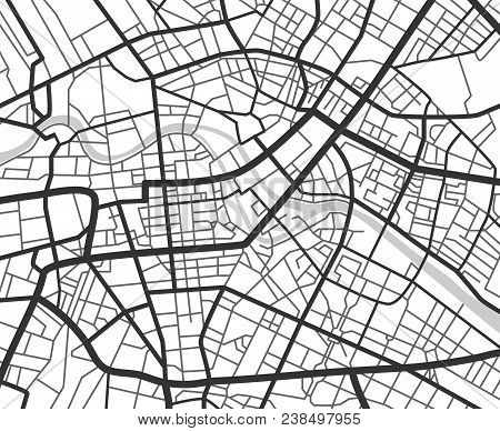 Abstract City Navigation Map With Lines And Streets. Vector Black And White Urban Planning Scheme. I