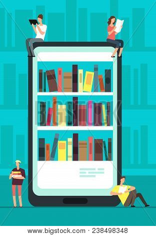 Smartphone With Reader App And People Reading Books. Online Book Store, Library And Education Vector
