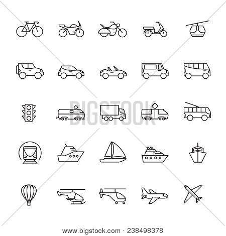 Public Passenger Transport Line Icons. Cars And Vehicles Set. Transportation And Shipping Outline Sy
