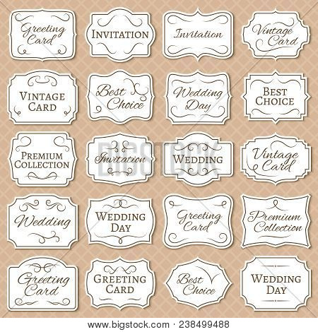 Vintage Frames With Floral Ornament. Retro Victorian Wedding Labels. Antique Vector Stickers Isolate