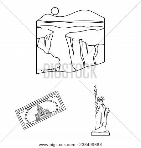 Usa Country Outline Icons In Set Collection For Design.travel And Attractions Vector Symbol Stock  I