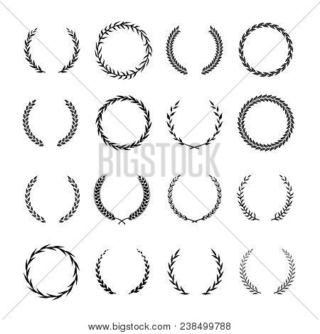 Vintage Round Branch Borders. Laurel And Oak Heraldry Wreaths. Award, Achievement, Nobility Vector D