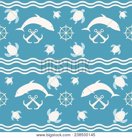 Seamless Nautical Sea Pattern. Waves, Anchors, Ship Steering Wheels, Diving And Floating Marine Dwel