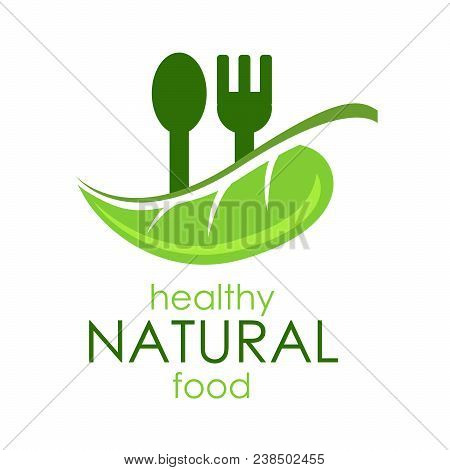 Vector Illustration Logo Healthy Natural Food. Green Leaf With Dark Gree Spoon And Fork On White Bac