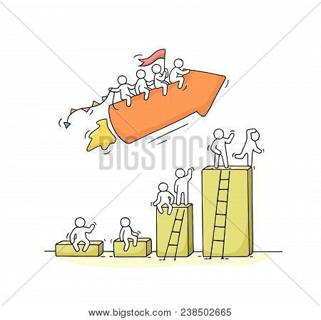 Sketch Of Working Little People With Arrow, Diagram. Doodle Cute Miniature Scene Of Workers. Hand Dr