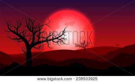 Silhouette Rainless Landscape;blood Moon On Desert At Twilight;desert In Summer Season;desert Wallpa
