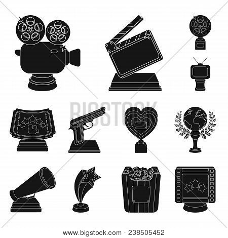 Film Awards And Prizes Black Icons In Set Collection For Design. The World Film Academy Vector Symbo
