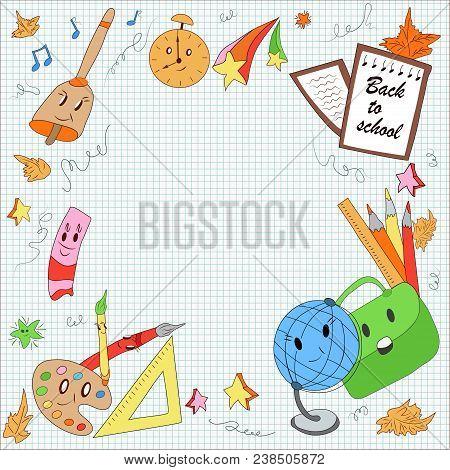 First School Day, School Items: Globe, Pencils, Pen, Brushes, Paint, Leaves, School Bag, Cute Stars.