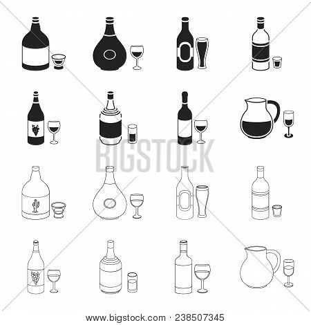 White Wine, Red Wine, Gin, Sangria.alcohol Set Collection Icons In Black, Outline Style Vector Symbo
