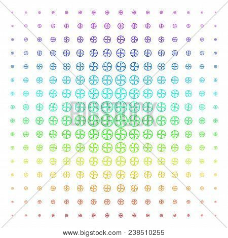 Drone Screw Rotation Icon Rainbow Colored Halftone Pattern. Vector Drone Screw Rotation Shapes Arran