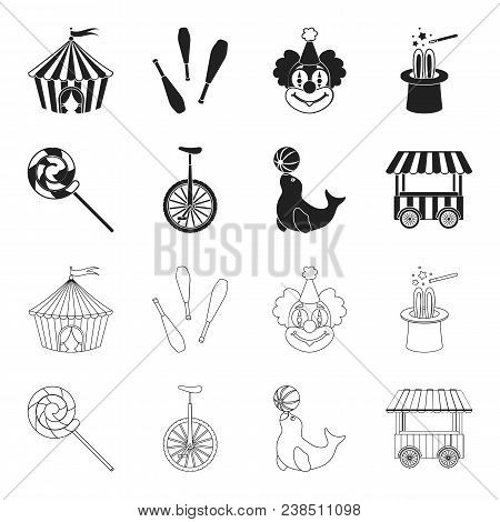 Lollipop, Trained Seal, Snack On Wheels, Monocycle.circus Set Collection Icons In Black, Outline Sty