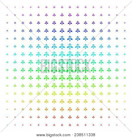 Ecology Man Icon Rainbow Colored Halftone Pattern. Vector Ecology Man Objects Organized Into Halfton
