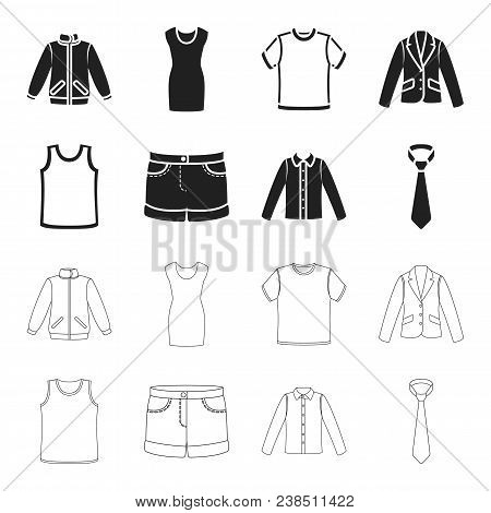 Shirt With Long Sleeves, Shorts, T-shirt, Tie.clothing Set Collection Icons In Black, Outline Style