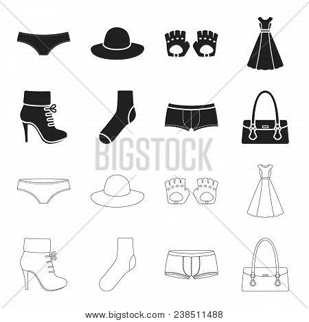 Women Boots, Socks, Shorts, Ladies Bag. Clothing Set Collection Icons In Black, Outline Style Vector
