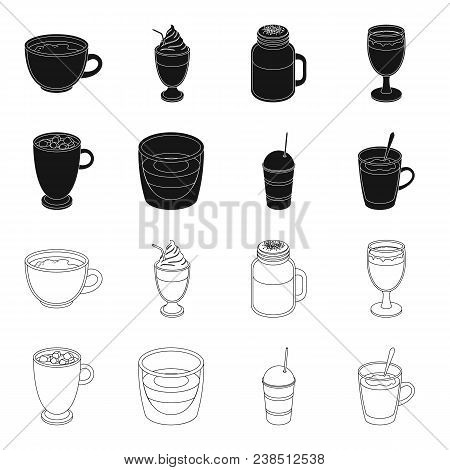 Ristretto, Hot Chocolate, Latte Take-away.different Types Of Coffee Set Collection Icons In Black, O
