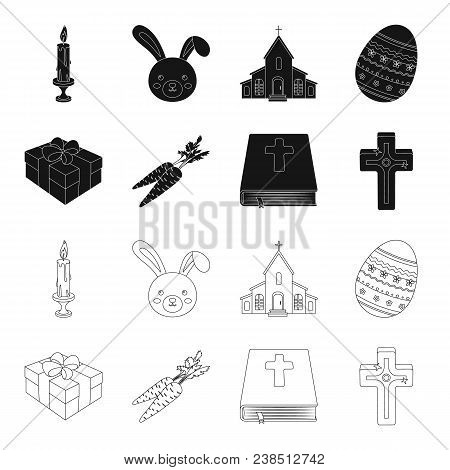 Cross, Bible, Gift And Carrots.easter Set Collection Icons In Black, Outline Style Vector Symbol Sto