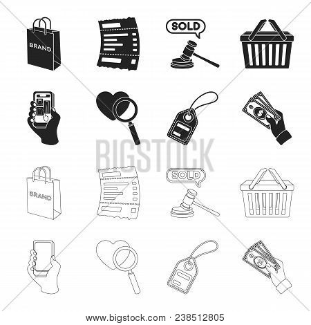 Hand, Mobile Phone, Online Store And Other Equipment. E Commerce Set Collection Icons In Black, Outl
