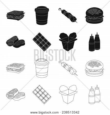 Chocolate, Noodles, Nuggets, Sauce.fast Food Set Collection Icons In Black, Outline Style Vector Sym