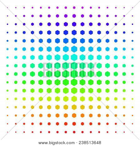 Filled Hexagon Icon Rainbow Colored Halftone Pattern. Vector Filled Hexagon Shapes Organized Into Ha