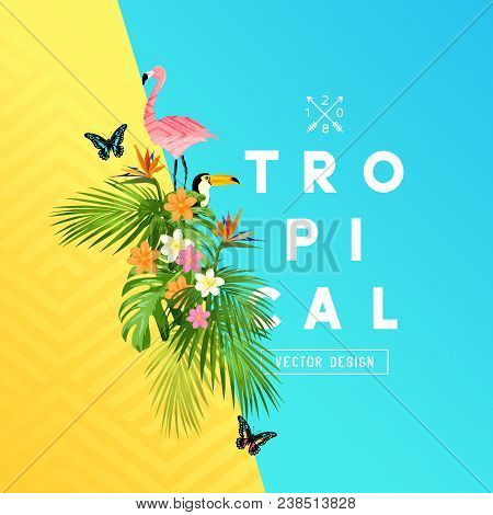 Tropical Rainforest Summer Design With Palm Tree Leaves, Plumerias, And Tropical Birds. Vector Illus