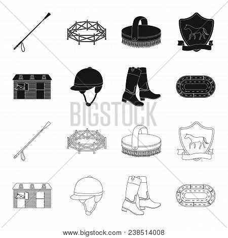 Boots, Grass, Stadium, Track, Rest .hippodrome And Horse Set Collection Icons In Black, Outline Styl