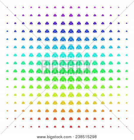 Fly Insect Icon Rainbow Colored Halftone Pattern. Vector Fly Insect Items Arranged Into Halftone Gri