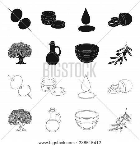An Olive Tree, A Branch With Olives, A Vessel And A Jug Of Oil. Olives Set Collection Icons In Black