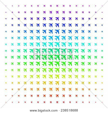 Jet Plane Icon Spectrum Halftone Pattern. Vector Jet Plane Objects Organized Into Halftone Grid With